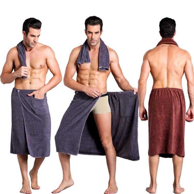 Moda homem wearable mircofiber toalha de banho com bolso macio natação praia toalha de banho cobertor toalla de bano 70x140cm