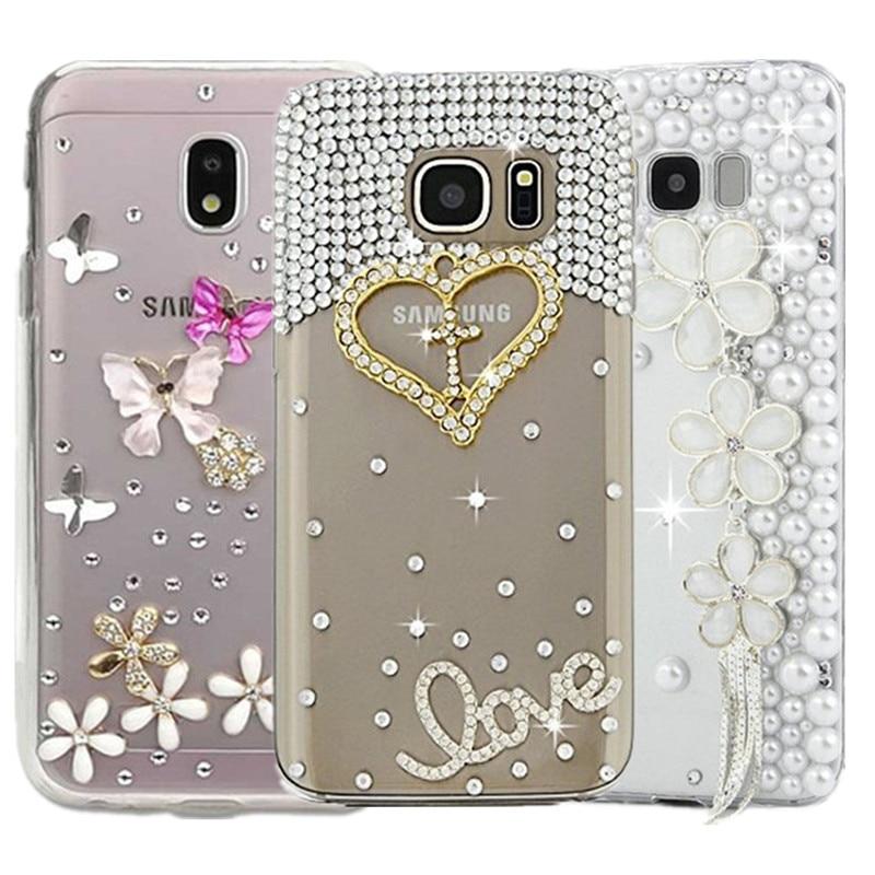 Para Samsung Galaxy J5 J3 J7 2017 DIY del teléfono del diamante de la cubierta de los casos J7 Neo Nxt J5 J2 Grand Prime G530 Pro J3 J4 J8 J7Duo J6 PLUS 2018