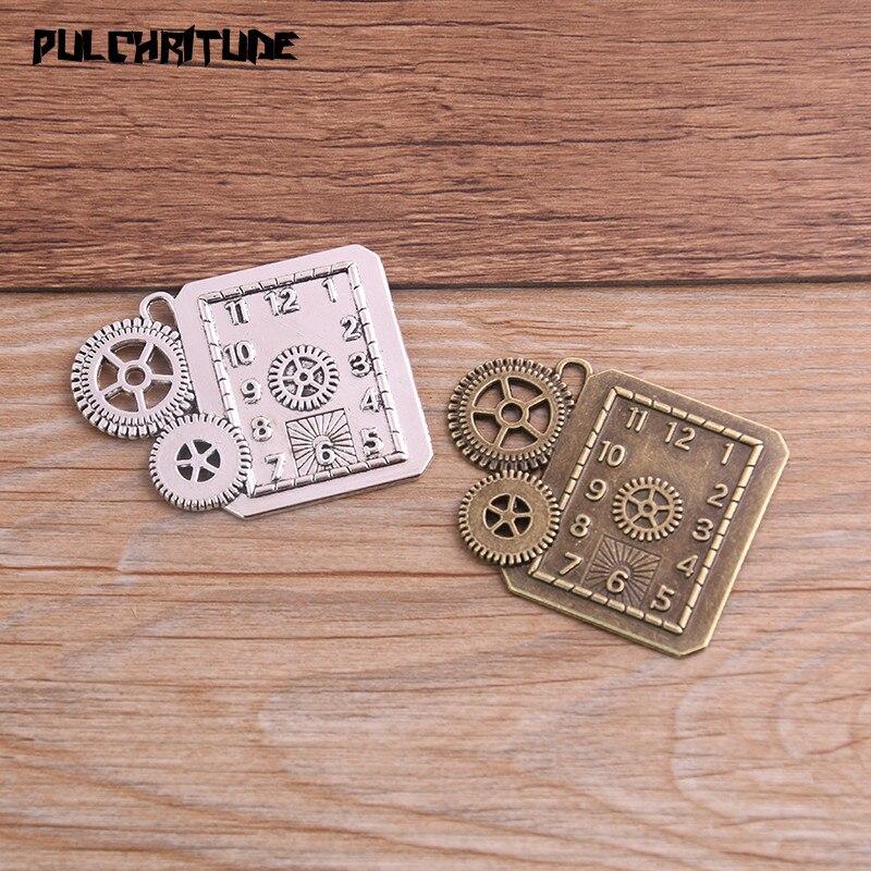 2 uds. 39*50mm dos colores Vintage Metal aleación de Zinc gran Steampunk reloj encantos ajuste dijes colgantes de joyería Makings