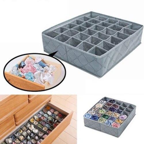 Caja de almacenamiento de ropa de hogar plegable con 30 celdas, caja organizadora con cajones para calcetines y ropa interior de carbón de bambú, organizador de armario, caja de almacenamiento Gary