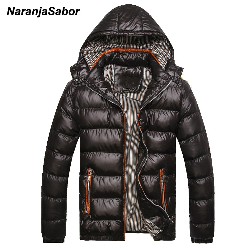 NaranjaSabor 2020 Winter Men's Coats Warm Thick Male Jackets Padded Casual Hooded Parkas Men Overcoa