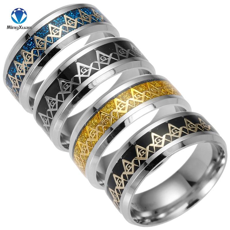 2017 nova freemasons anel maçônico anéis para homens mulher cor do ouro preto 316l aço inoxidável encantos freesonry moda jóias
