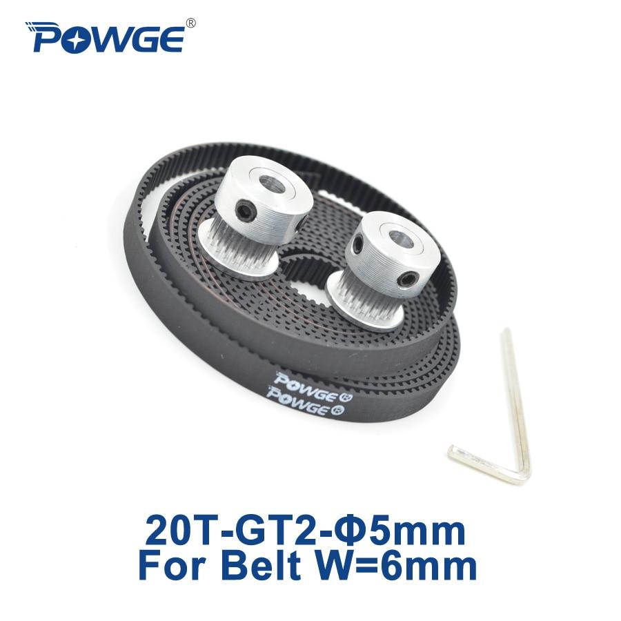 POWGE 2 metros GT2 correa dentada abierta anchura 6mm + 2 uds 20 dientes GT2 polea síncrona diámetro 5mm 20T 2GT polea 20 dientes impresora 3D
