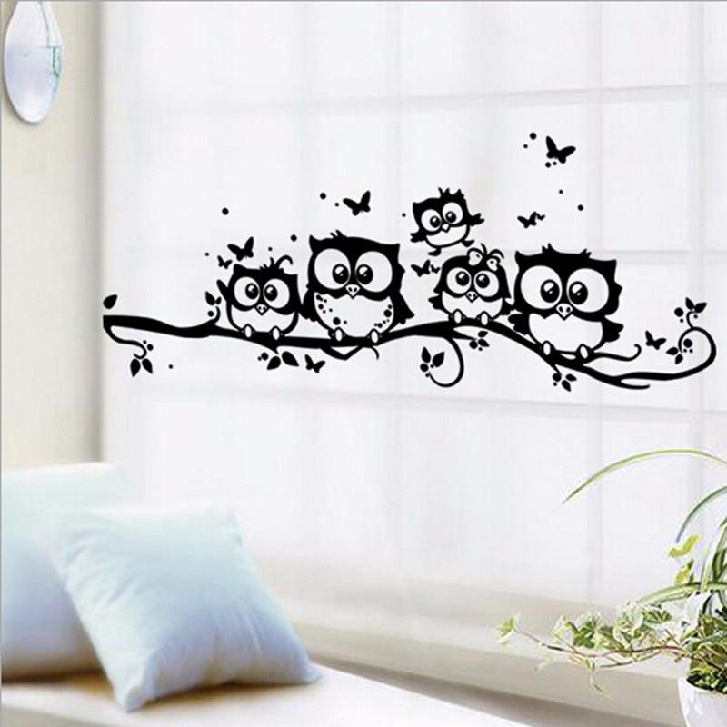 5 uds DIY negro dibujos animados de búho pegatinas de pared extraíbles arte vinilo calcomanía niños cuarto de niños decoración del hogar papel tapiz 3D decoración Mural