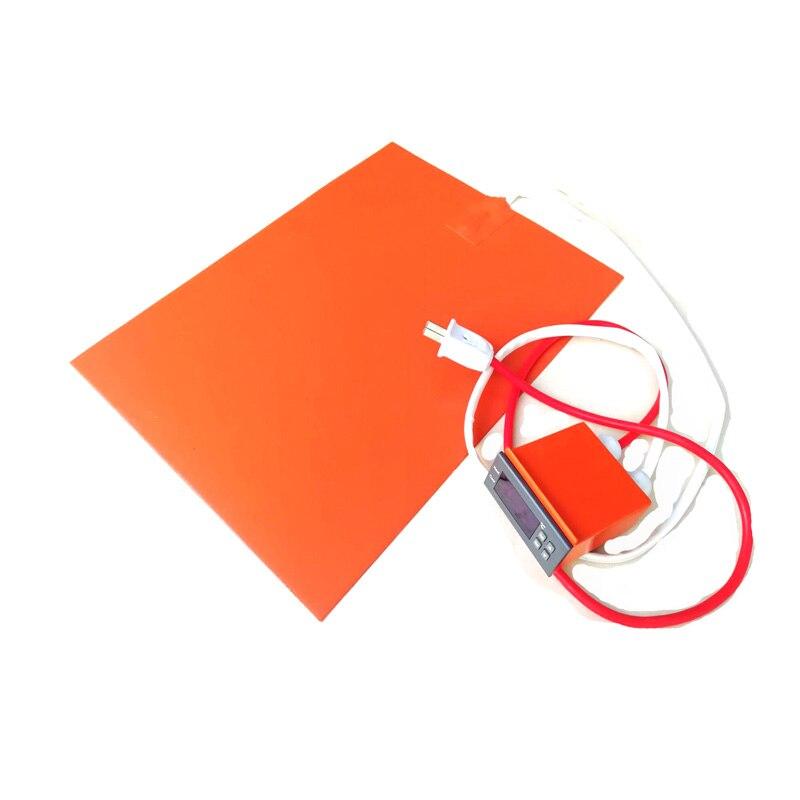 220v 400w 300*400*1,5mm goma de silicona impresora 3d termostato digital en alambre 1000mm plomo fuera de corto