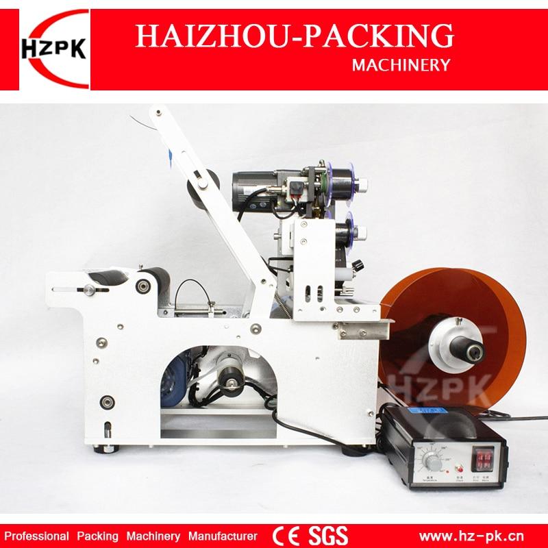 HZPK شبه التلقائي ماكينة لصق العلامات على الزجاجات المستديرة مع الترميز آلة طباعة الملصقات التحكم في الطاقة الكهربائية الصغيرة باكر MT-50C