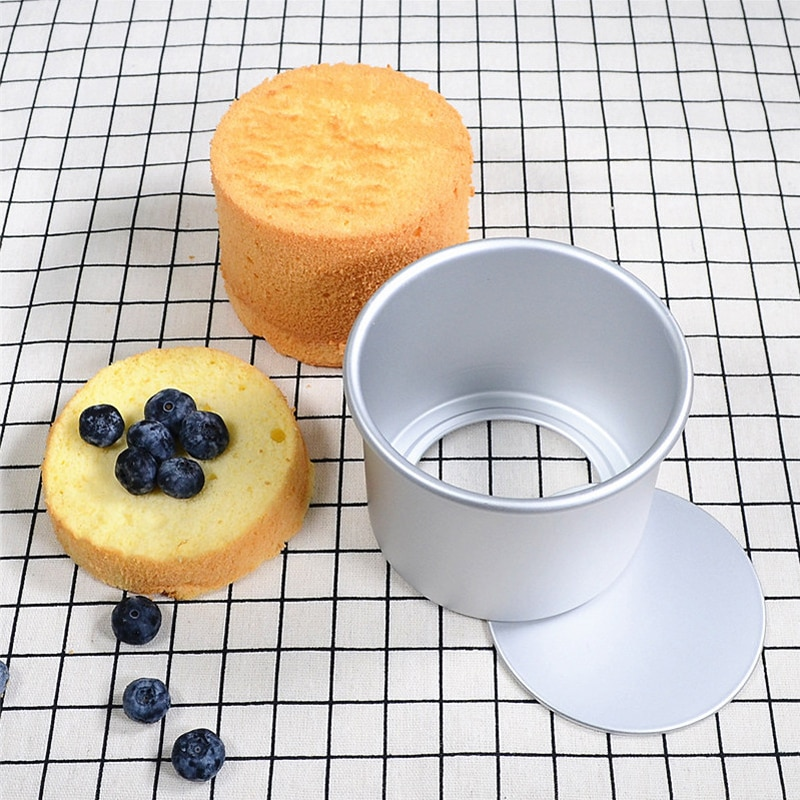4 pulgadas de aleación de aluminio redondo Cheesecake Pan Kraft papel embalaje gasa molde para pasteles Fondo extraíble herramientas de decoración de pasteles