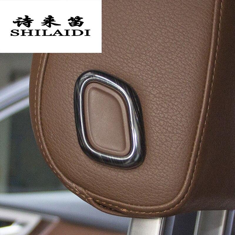 Botones de ajuste de reposacabezas de estilo de coche, pegatina embellecedora para Audi Q7, almohada de cabeza, botón de elevación, decoración, accesorios para automóviles
