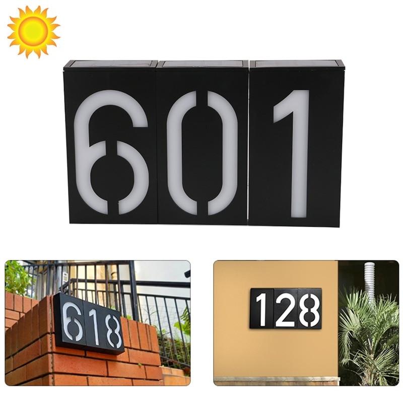 Luz LED solar número de la casa luz Digital de la pared de la puerta caliente luz solar al aire libre dirección número señal lámpara solar luminaria solar