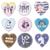 round heart patches animal stickers iron on clothes heat transfer applique embroidered applications cloth fabric sequin patches