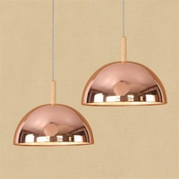 Loft Style Rose Gold Iron Droplight Modern LED Pendant Light Fixtures Iron Wood Hanging Lamp Home Decor Indoor Lighting