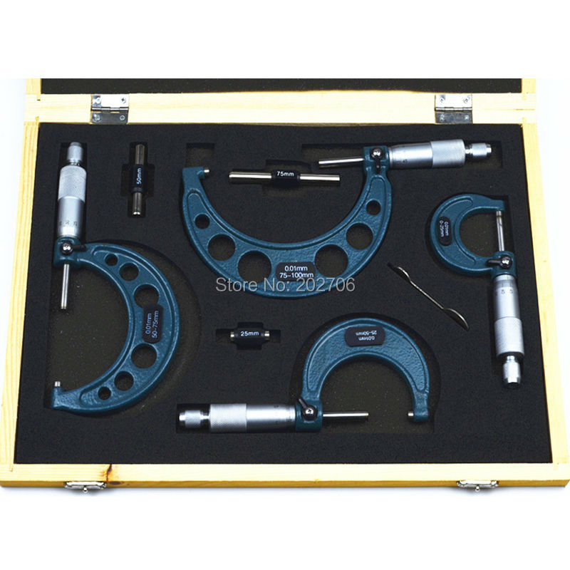 0-25mm, 25-50mm, 50-75mm, 75-100mm fuera del conjunto de micrómetros trinquete de parada tipo 4 unids/set 0-100mm medidor de espesor herramientas de medición