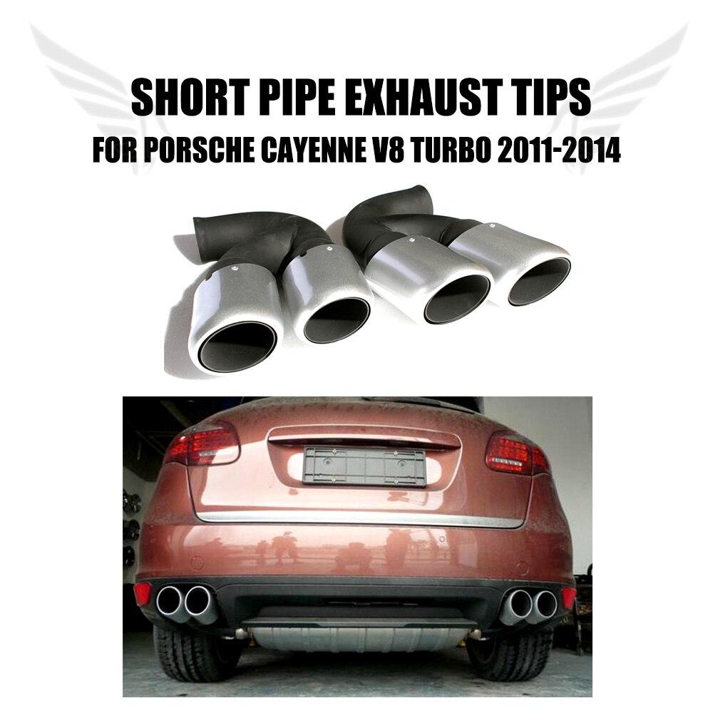 2 unids/set de acero inoxidable, silenciador de la cola del coche Ehaust, tubos cortos Fir para Porsche Cayenne V8 Turbo 2011-2014, estilo de coche
