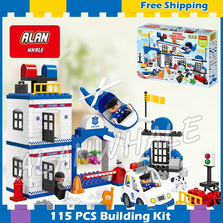 115 Uds Ville mi primer conjunto de estación de policía, bloques de construcción de gran tamaño, juguetes para niños, juegos de regalos compatibles con Duplo