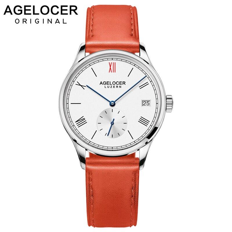 Agelocer, relojes de mujer de marca suiza, reloj automático de mujer, de cuero rojo, de zafiro, de cristal, resistente al agua, reloj mecánico, reloj de mujer