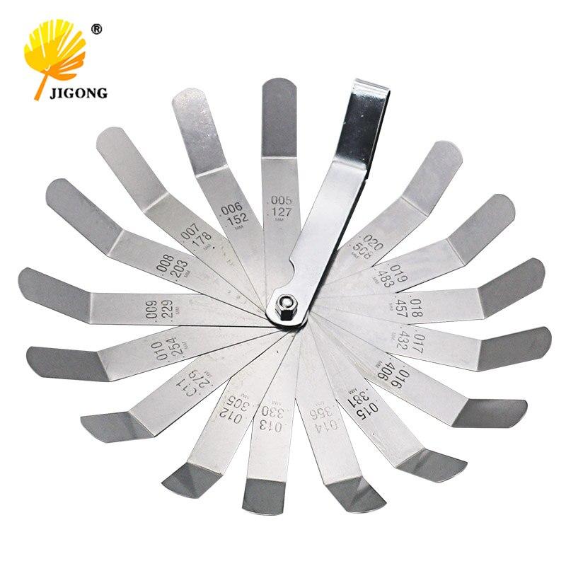 Calibrador de presión métrico de 0.127-0.508mm 0.005-0.020 pulgadas medidor de sensación de válvula de compensación de alta resistencia 16 cuchillas fáciles de usar duraderas