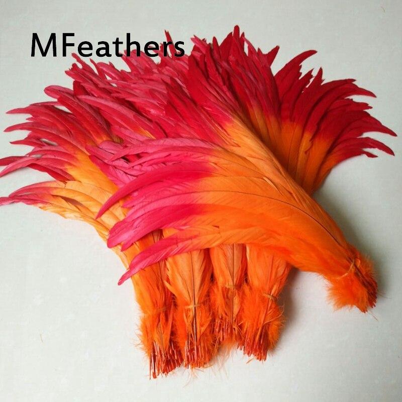 Atacado 100 pçs/lote dicas com orange Galo caudas de Penas vermelho inferior Dois tons tingidos penas de galinha plumas para decoração de carnaval.
