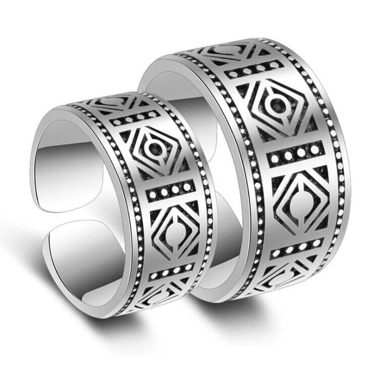Anillos de pareja anenjary, Totem clásico Retro tallado, apertura de anillos tailandeses de Color plateado para hombres y mujeres S-R37