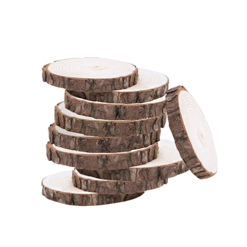 ABKM caliente 10 Uds 10-12CM madera troncos rebanadas de discos artesanía de madera adorno para manualidades DIY centros de mesa de boda