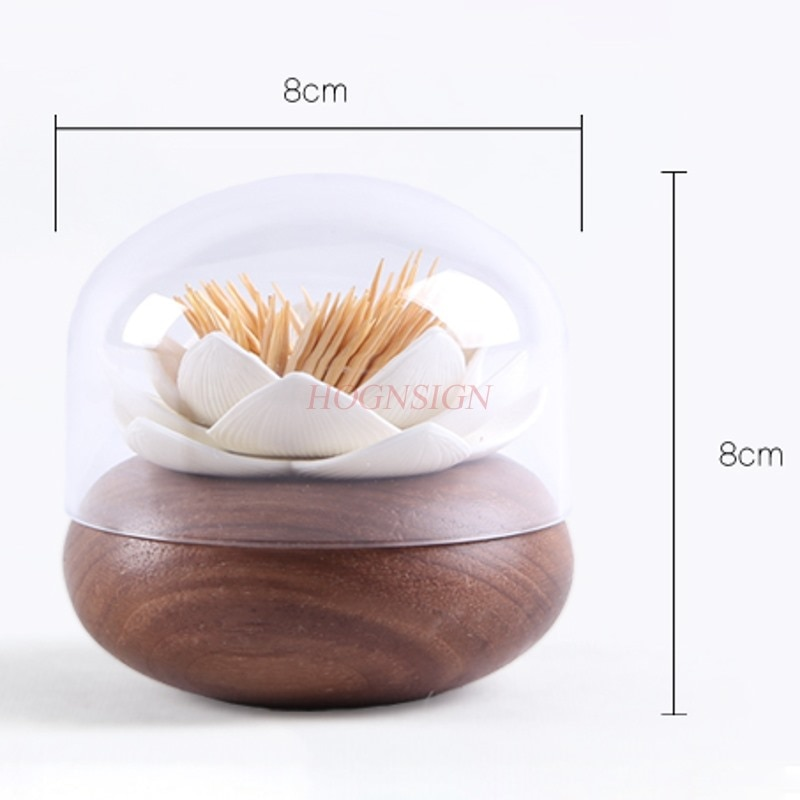 Palillo de dientes Lotus con personalidad mondadientes de madera maciza barril de gama alta portátil hogar sala de estar restaurante tarro de palillos para dientes venta