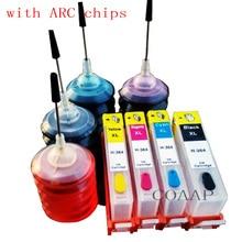 4PK pour rechargeable hp 364 cartouche dencre vide pour hp Photosmart Plus B209 B209a B209b B209c imprimante + 120ml encre à colorant