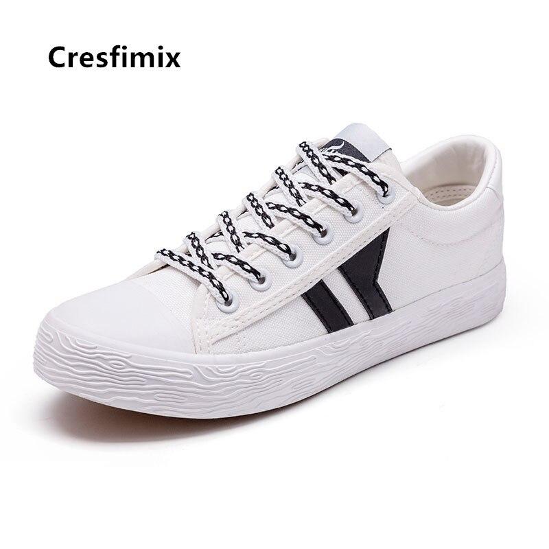 Cresfimix-zapatos planos de lona para mujer, zapatillas azules de talla grande, informales,...