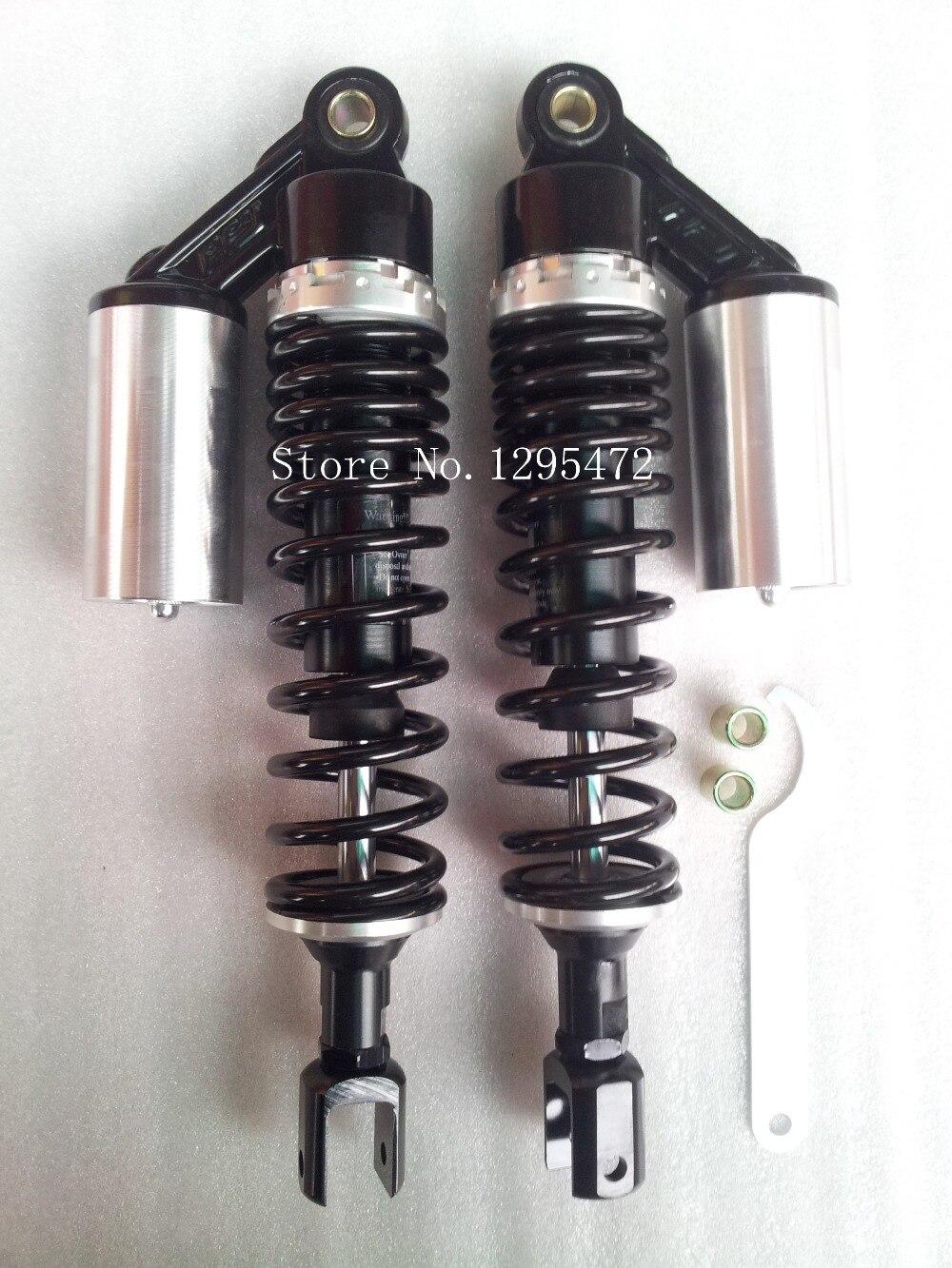 Alta calidad 350mm Clevis nitrógeno Amortiguador de aire 8mm resorte para motocicleta atv quad negro + color plata