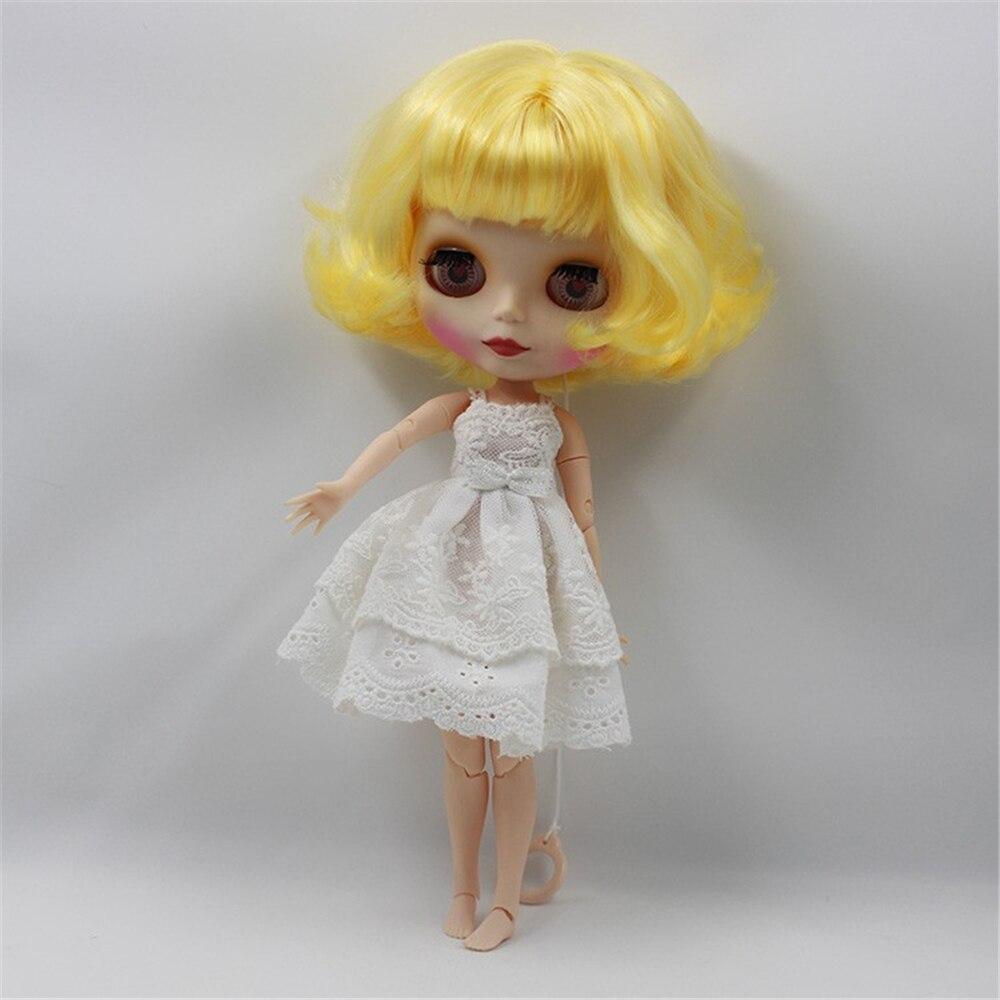 Muñeca de maquillaje blyth de muñeca blyth color nude Rizado corto amarillo con cuerpo articulado 4 colores ojos grandes 1/6 bjd adecuado DIY