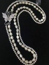 100% véritable collier de perles deau douce de culture 80 CM nous acceptons la commande tout lenth 925 argent sterling papillon fine femmes bijoux