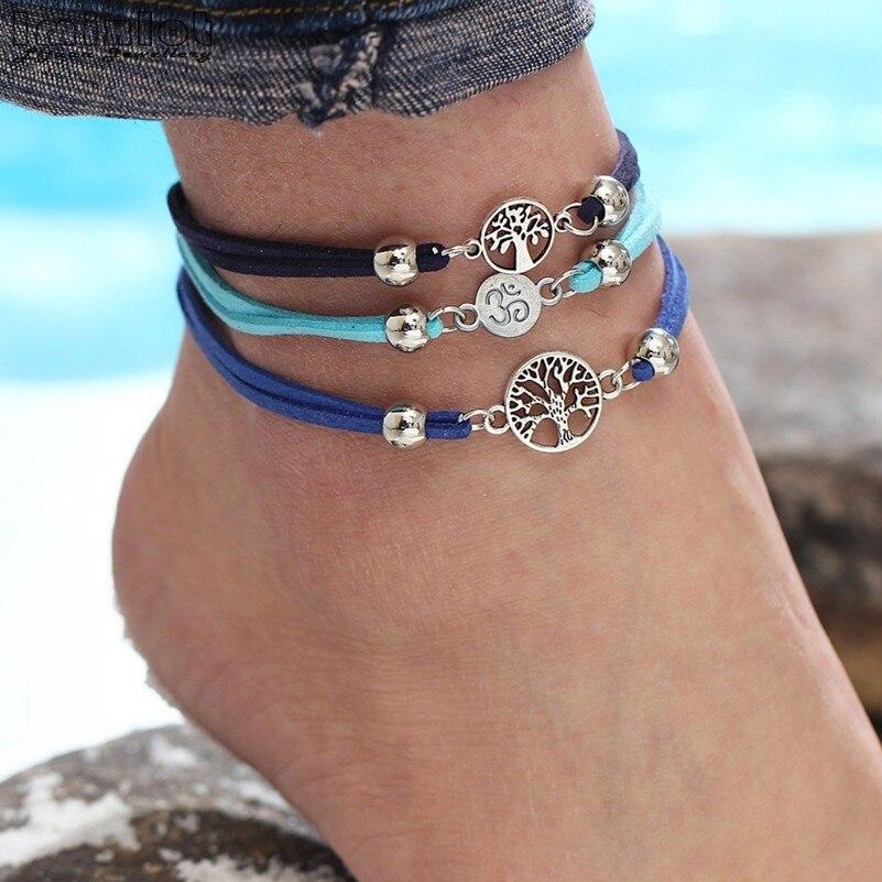 Imixlot vie arbre bracelet à breloques Vintage bleu corde cheville pied cuir chaîne cheville Bracelets fait main bijoux pour hommes femmes