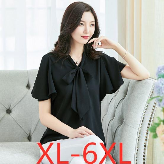 2019 summer plus size tops for women elegant casual loose large size womens short sleeve chiffon shirt black red 3XL 4XL 5XL 6XL