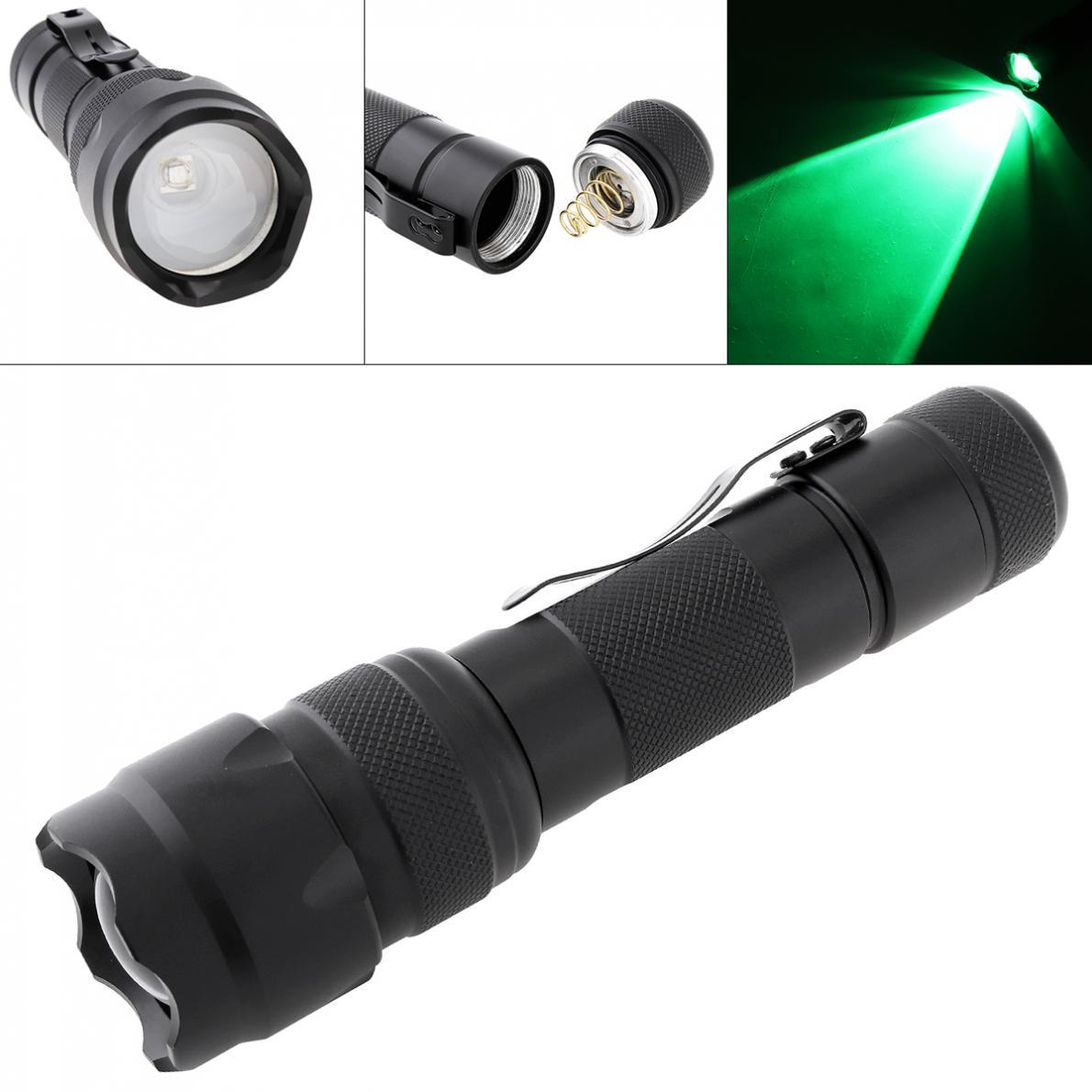 Linterna LED Zoom Tourch 502B 18650 Mini luz verde XML T6 LED 1200 lúmenes a prueba de agua para pesca caza Camping ciclismo