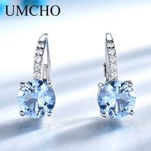 Umcho sólida prata 925 jóias em torno criado nano céu azul topázio clipe brincos para presentes de aniversário feminino encantos jóias finas
