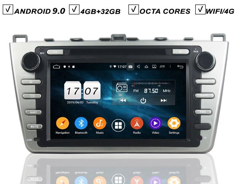8 IPS Auto Android 9.0 DVD GPS-Player Für MAZDA 6 2008-2012 Multimedia Navigation Auto Raido BT Wifi Karte BT Octa Core 4GB RAM USB