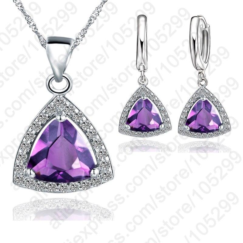 Moda novedosa, colores múltiples, cristales triangulares, juegos de joyas para mujer, Collar de plata de ley 925, pendientes