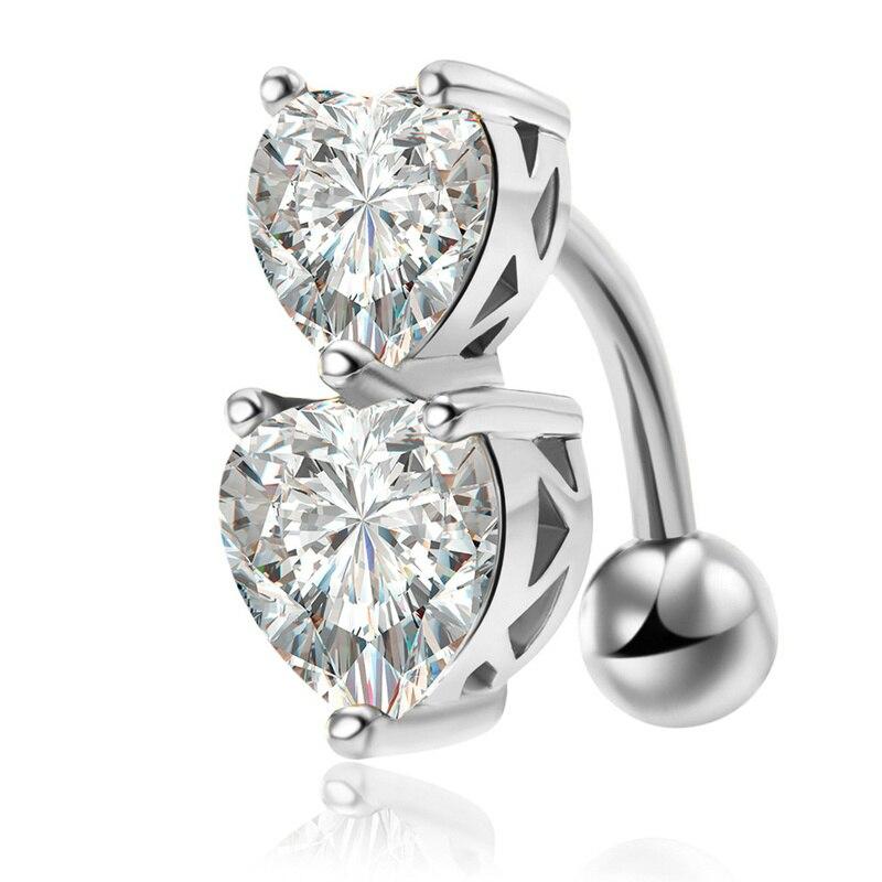 Piercing de ombligo de doble Corazón, Piercing para ombligo, joyería de verano para mujer, perforación de ombligo Nombril