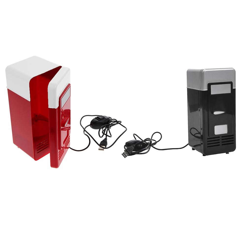 Household Car Mini Fridge Desktop Fridge USB Gadget Beverage Cans Cooler Warmer Refrigerator with Internal LED Light