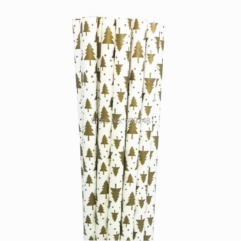 Pajitas de papel para beber impresas con Árbol de Navidad dorado de 100 uds, palitos de Santa Claus para colocar en pasteles, pajitas para fiestas, pajitas para botellas de leche
