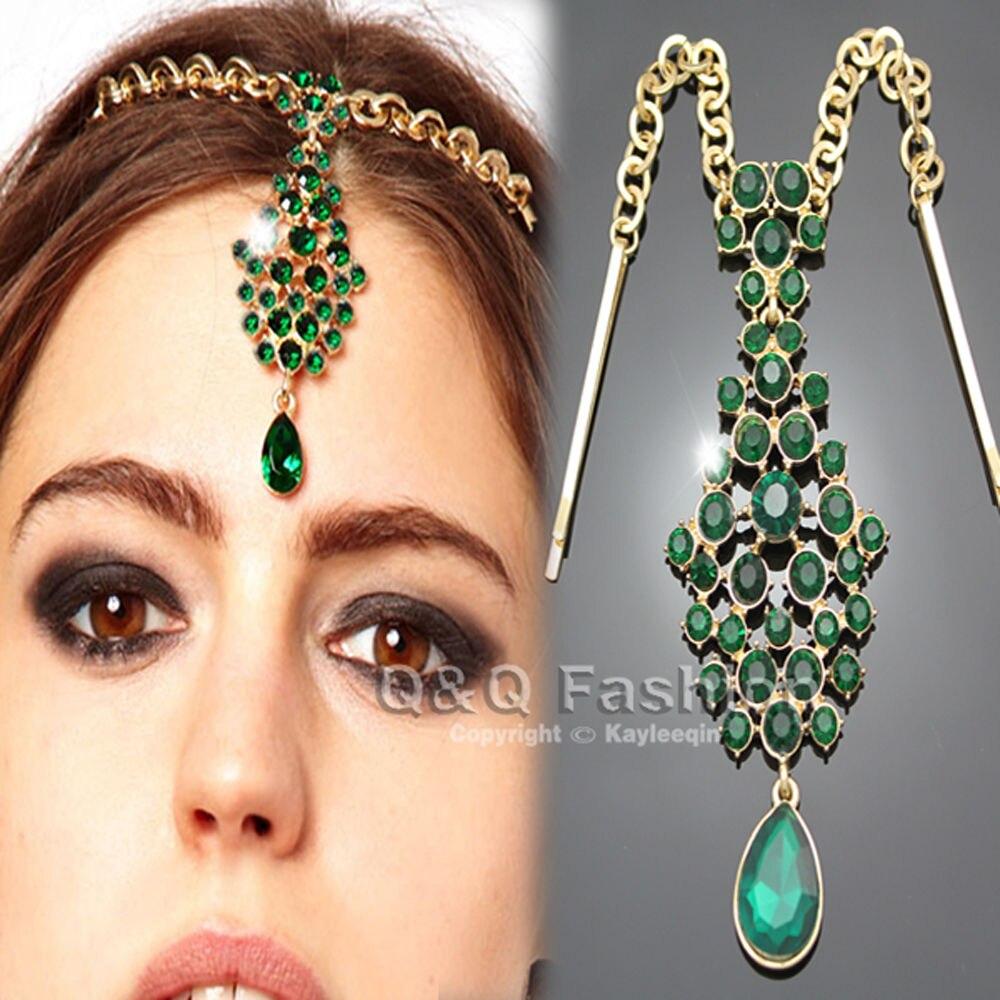 Nueva moda lágrima pendiente de cristal verde Bindi Clip de pelo Pins cadena Tikka indio cabeza pieza Dancer Cosplay