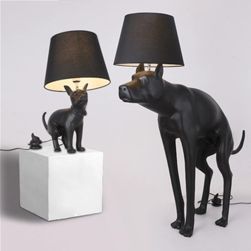 Posmoderno minimalista negro Abajur perro lámpara led para mesa de escritorio Lámpara de lectura de pie de resina de dormitorio Ac90-260v