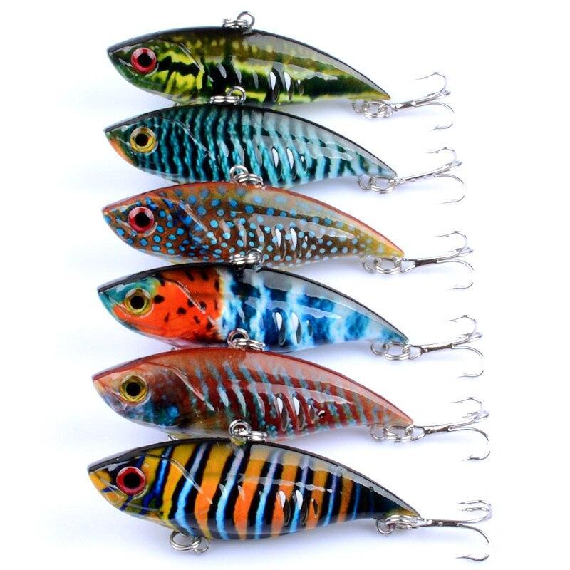 6Pcs/Lot 6.5cm/10.6g Wobblers VIB Vibrate Fishing Lure Bait 3D Paintin Full Swimming Layer Artificial Pesca Isca Peche Leurre