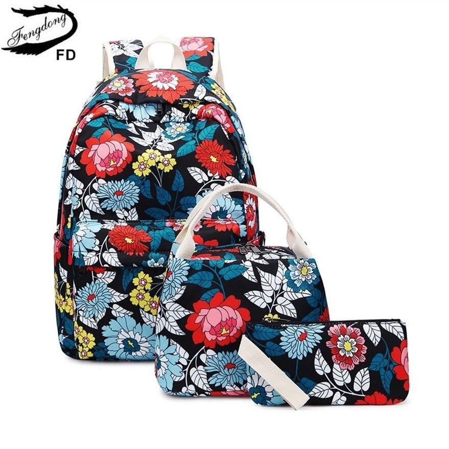 FengDong 3pcs/set chinese style teen girl school backpack flowers school bags for women girls floral backpack bookbag pencil bag