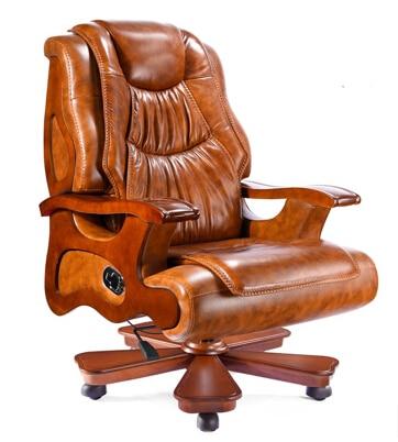 Фото - Кожаное кресло, кожаное кресло, деревянное офисное кресло, кресло президента, массажное кресло с откидной подушкой, подъемное компьютерное ... кресло