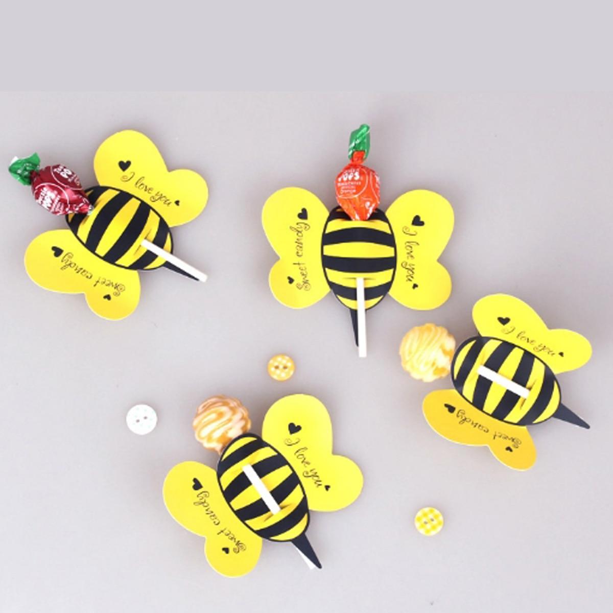 50 unids/set Animal Bee, Boutique práctica, Linda Tarjeta de decoración de piruleta, fiesta de cumpleaños, decoración de boda y regalo de dulces para niños