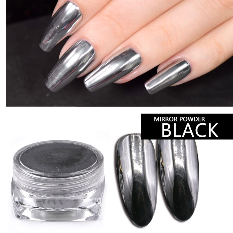 Conjunto de esmalte de uñas en gel, para manicura, negro, espejo efecto brillo, purpurina, holográfico en polvo