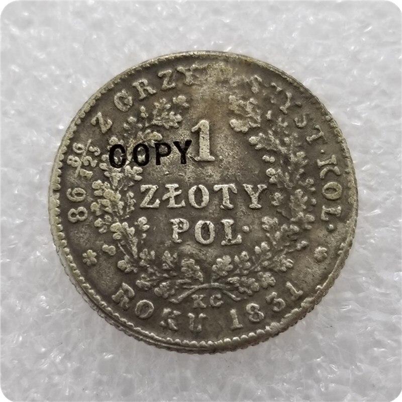 1831 перегородки из Польши 1 Zlote Polskie копия монеты
