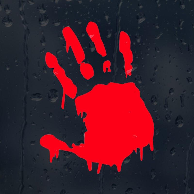 Adhesivo de ventana de coche de vinilo de mano sangrienta de 11,3x15CM, emblema de motocicleta, calcomanía, accesorios para Jeep Wrangler renegado brújula Cherokee