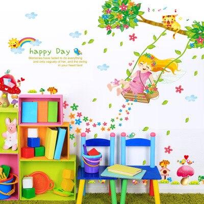 Feliz chica columpio en las flores árbol pared arte Mural decoración niños niñas habitación guardería papel tapiz decoración feliz día de la pared