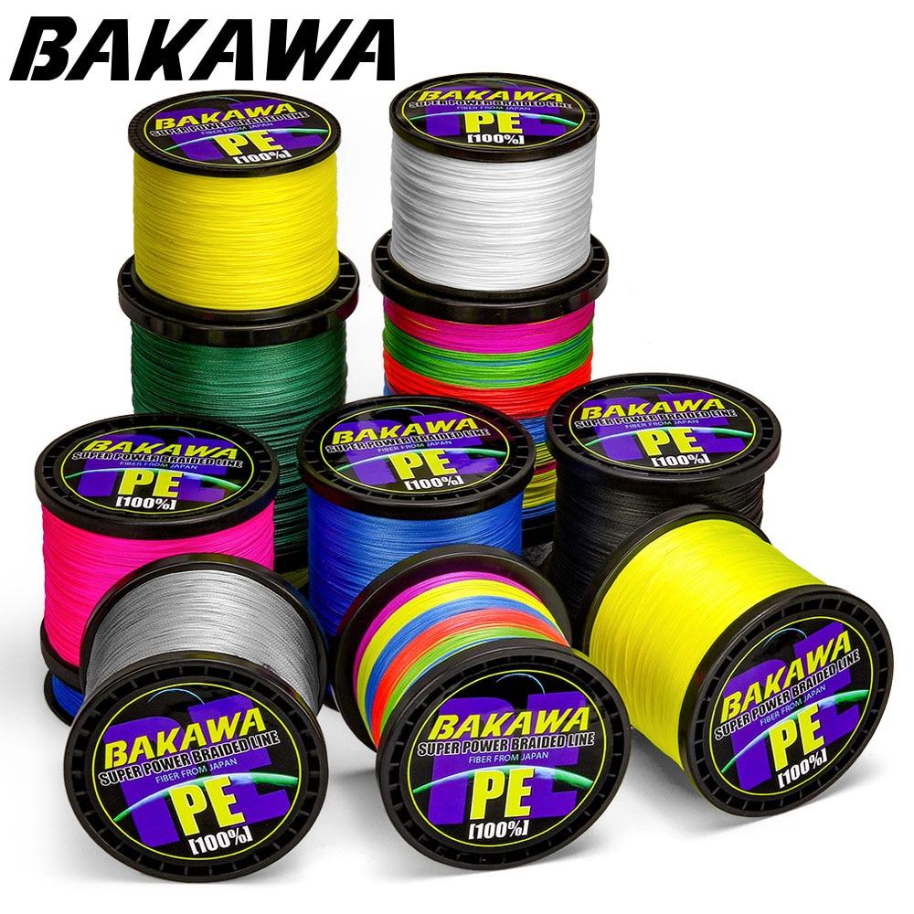 BAKAWA 300M a 1000M 8 hebras súper fuerte 4 líneas de Pesca trenzadas líneas de multifilamento PE para Pesca de carpa Cable de cuerda de Pesca