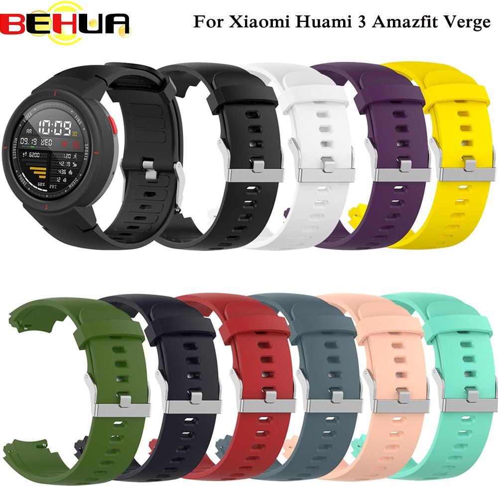 Silicone Watchband for Xiaomi Huami 3 Amazfit verge Watch band Replacement Band Belt for AMAZFIT VERGE3 Wrist Bracelet Straps